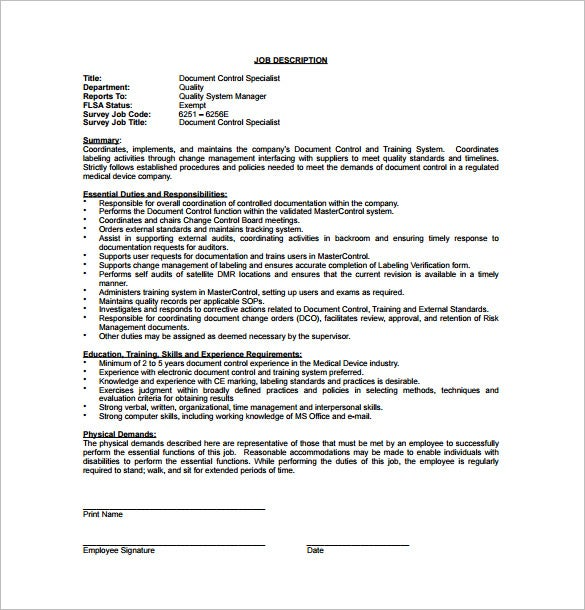 document controller job description pdf free download