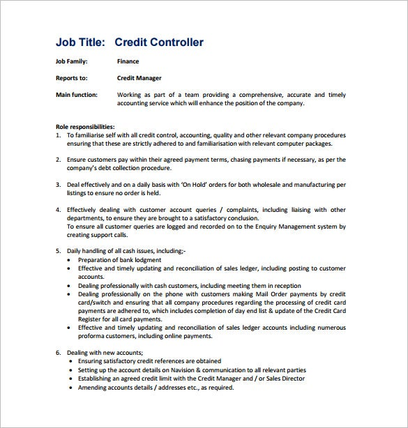 free credit controller job description pdf download