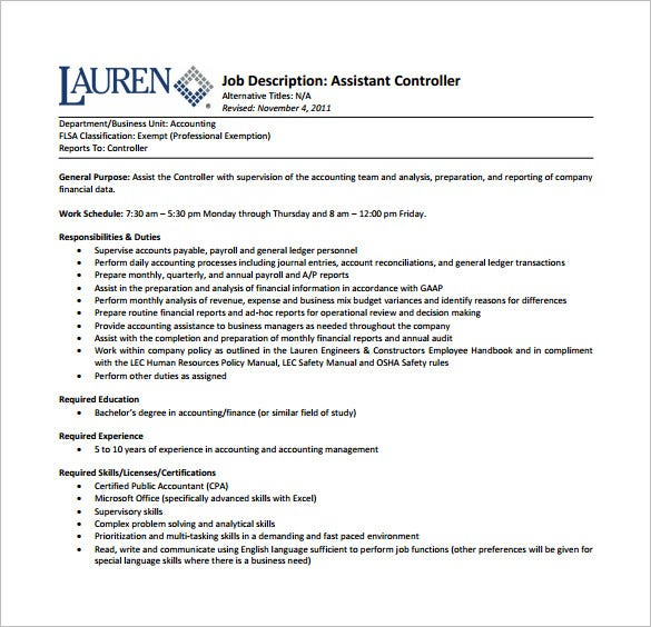 job description for financial assistant financial