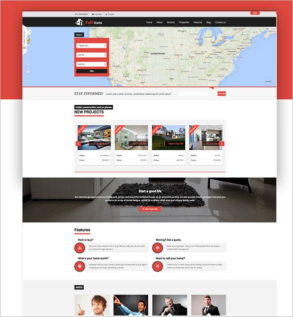 full estate bootstrap real estate theme