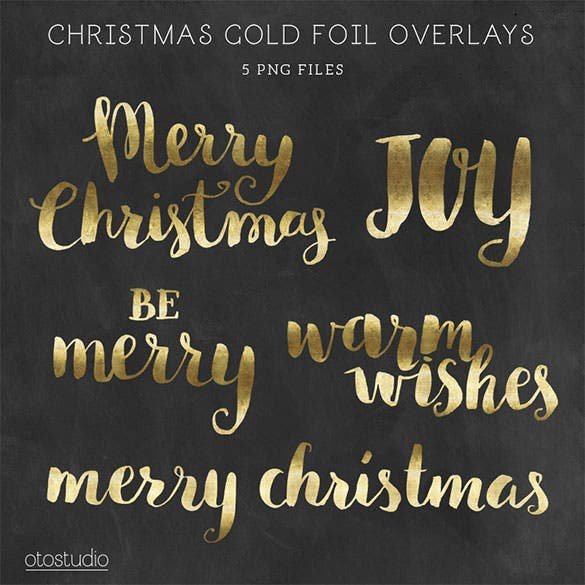 5 christmas gold foil lettering template png format