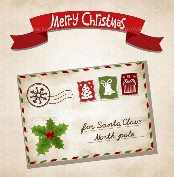 christmas letter template vector eps format