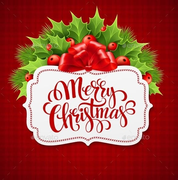 merry christmas lettering card with holly eps download