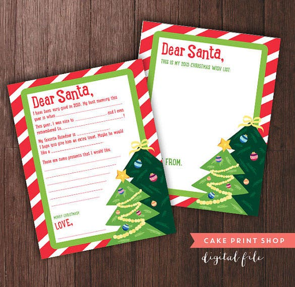 christmas printable santa letter template download
