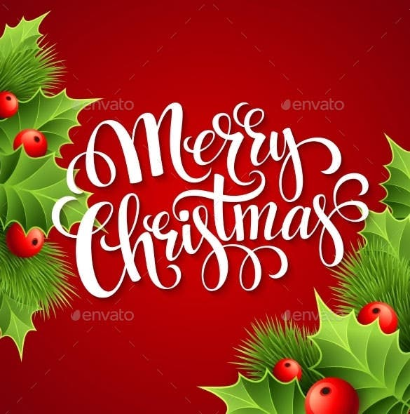 merry christmas lettering card with holly vector download