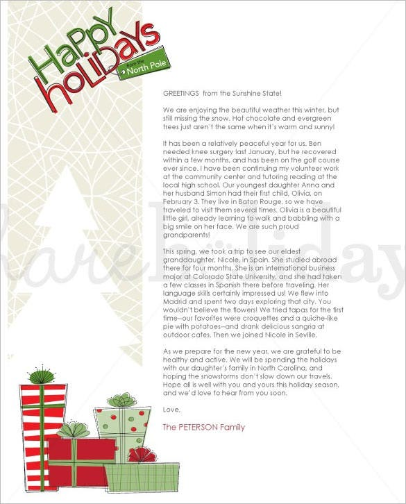 contemporary christmas family letter template download