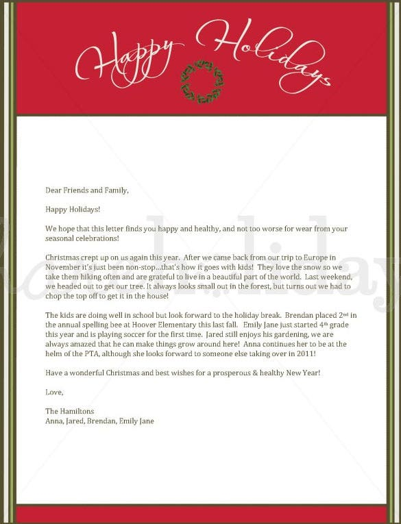 Red Christmas Wreath Letter Template Download  Christmas Letter Templates Free