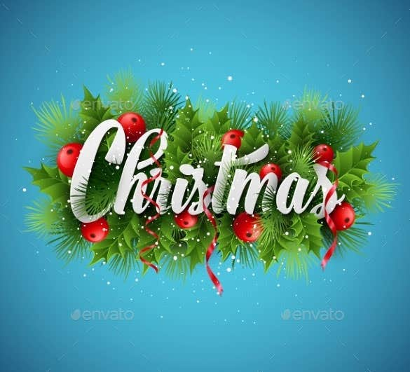 christmas lettering card with holly and fir tree download