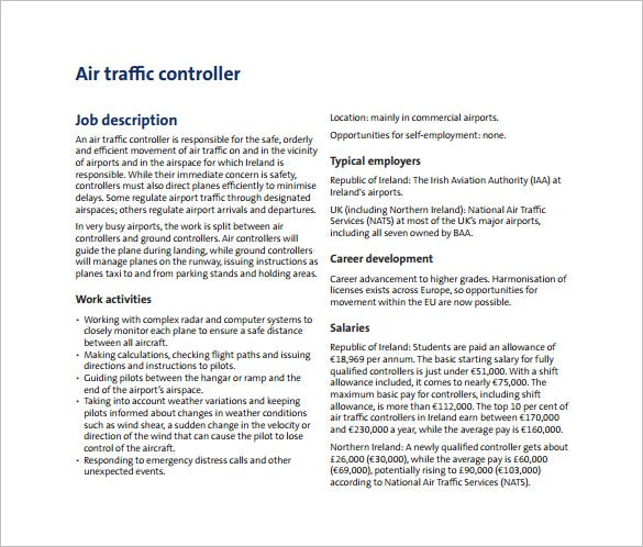 air traffic controller job description free pdf download