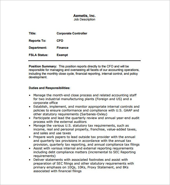 10 controller job description templates free sample example