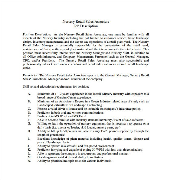 Superb Nursery Retail Sales Associate Job Description Free PDF Template