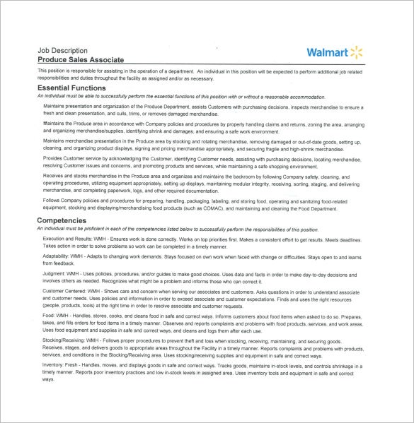 Walmart Sales Associate Job Description PDF Free Download  Description Of Sales Associate