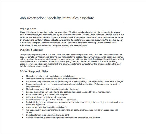Nice Specialty Paint Sales Associate Example Job Description Free Download Idea Description Of Sales Associate