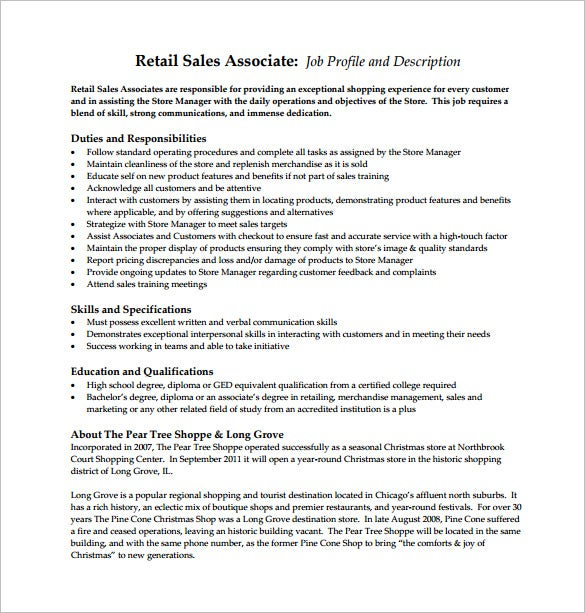 retail sales associate job description free pdf template