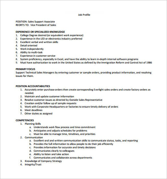 free sales support assosiate job description pdf template