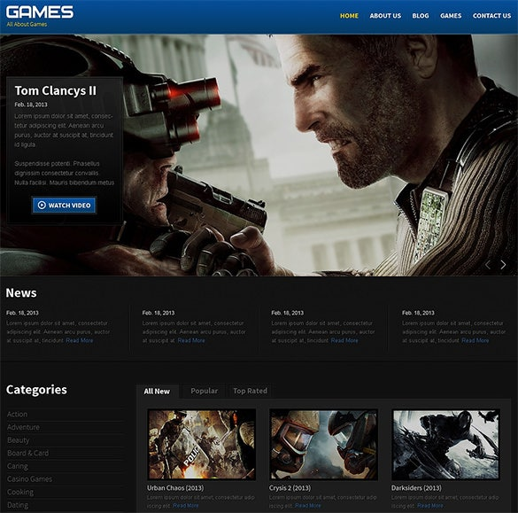 responsive gaming website theme
