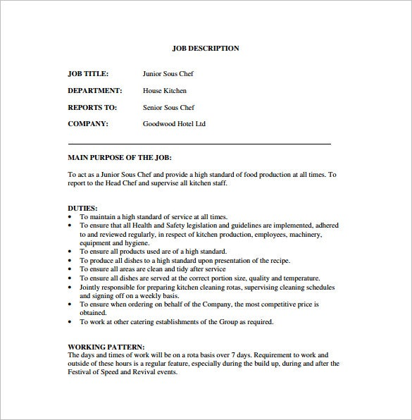 Sous Chef Job Description Template – 8+ Free Word, Pdf Format