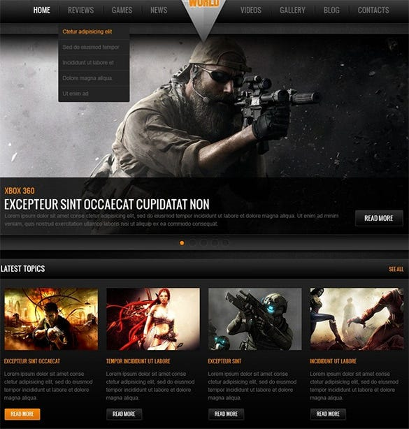 games world gaming website theme