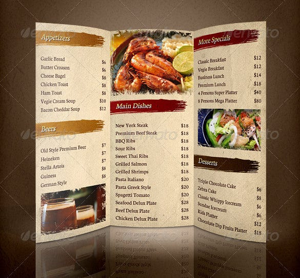 30 restaurant brochure templates free psd eps ai for Menu brochure template word