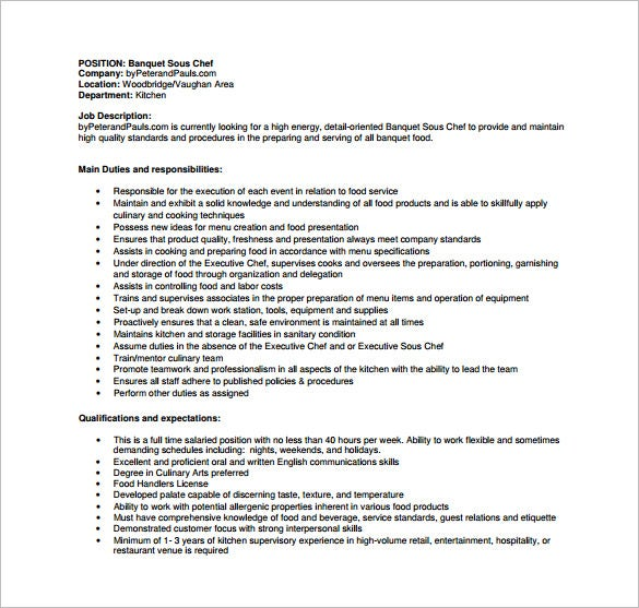Banquet Chef Job Description Chefjobscareers. Cover Letter Banquet