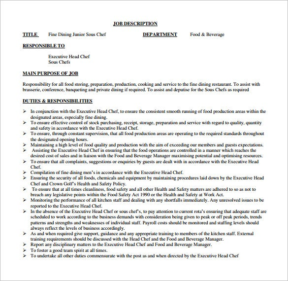 sous chef job description template