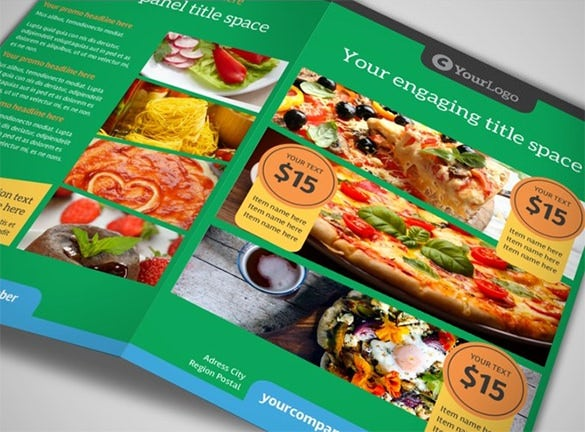 yummy pizza restaurant bi fold brochure template