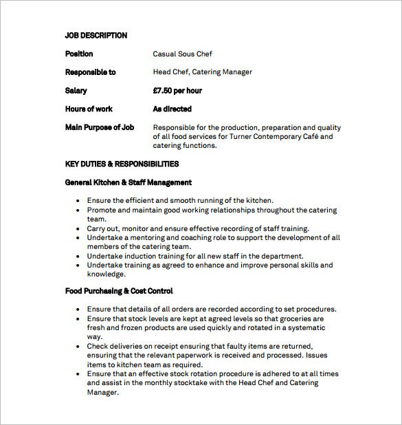 Sous chef job description template 8 free word pdf for Example of a job description template