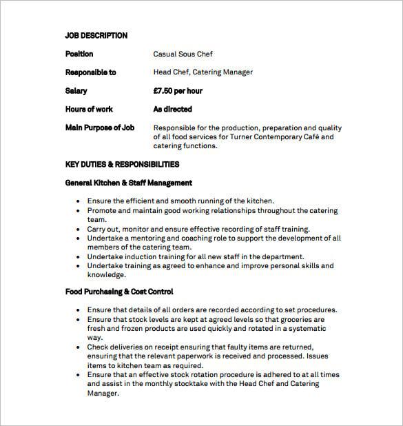 9+ Sous Chef Job Description Templates – Free Sample, Example ...