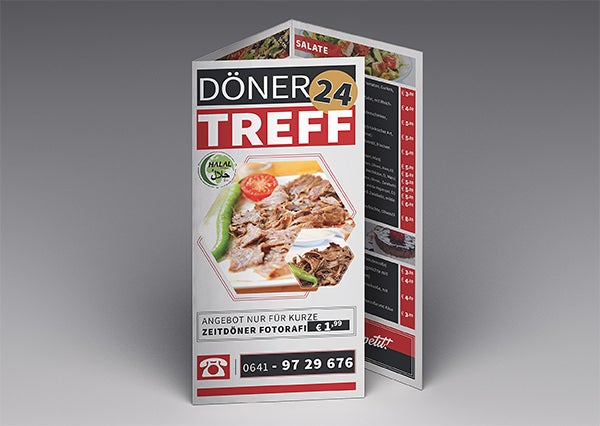 cafe restaurant trifold brochure