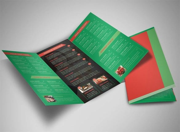 pizza restaurant menu tri fold brochure template