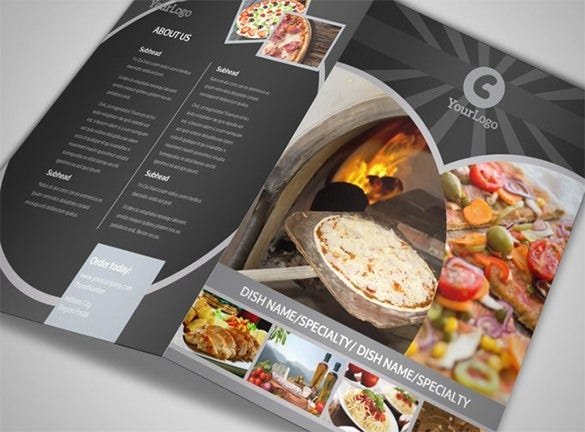 awesome pizza restaurant bi fold brochure template