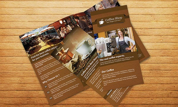 coffee shop restaurant trifold broch