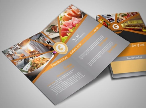 asian fusion restaurant bi fold brochure template