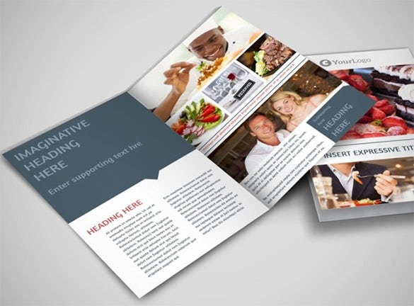 fine dining restaurant bi fold brochure template
