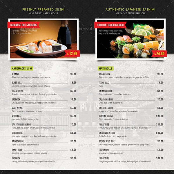 sushi restaurant menu brochure pack