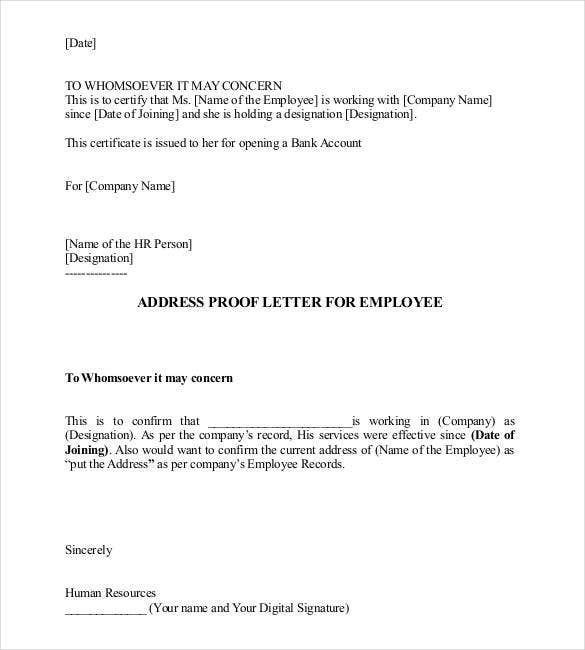 address proof letter for employee