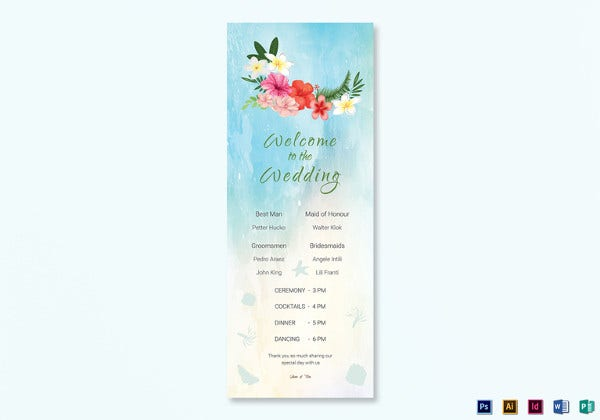 beach wedding program card indesign template
