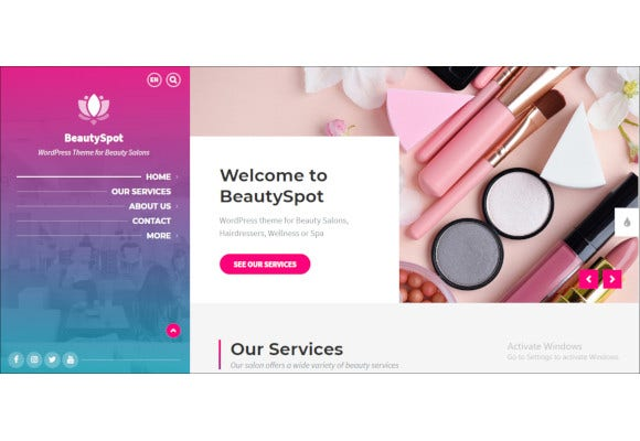 beautyspot for beauty salons wordpress theme