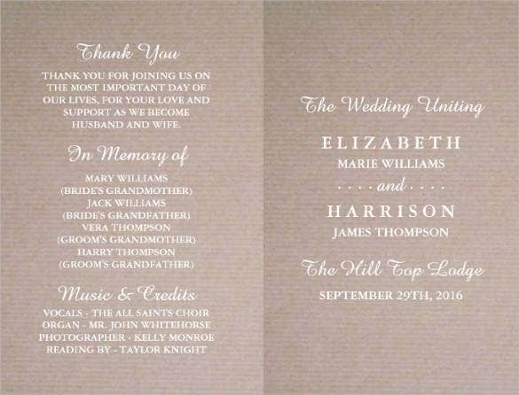 69 Wedding Program Template Free Word Pdf Psd