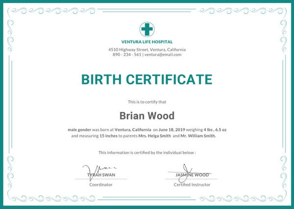 birth certificate illustrator template