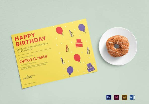 birthday gift certificate template in illustrator