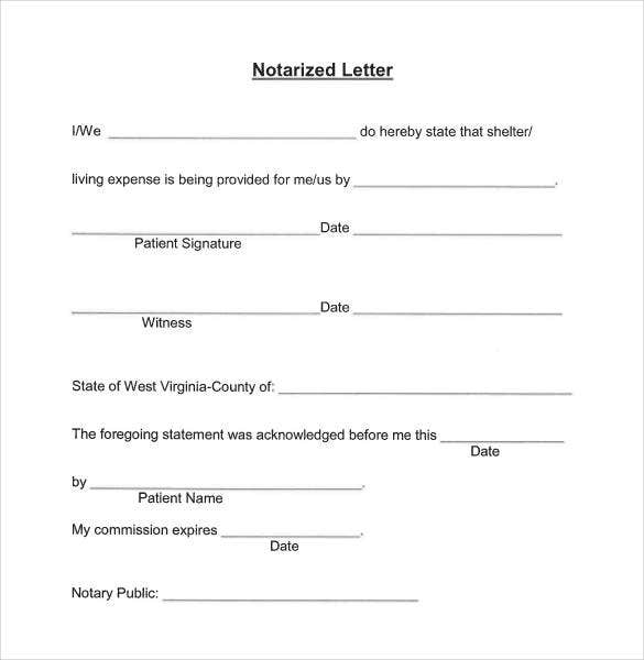 how to write a notarized letter of residency 32 notarized letter templates pdf doc free amp premium 19654