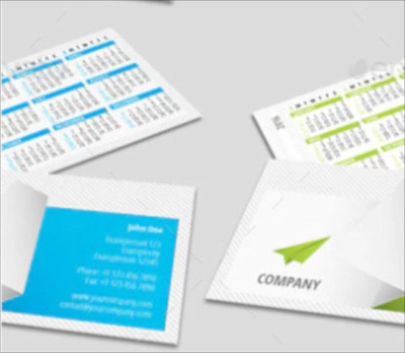 business card with 2016 calendar