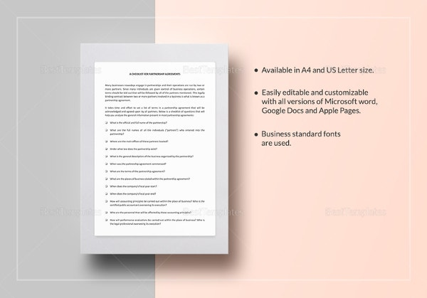 checklist-partnership-agreement-template