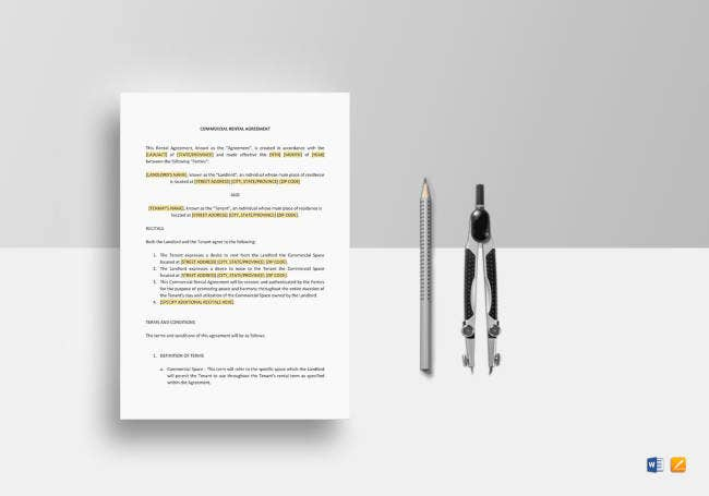 commercial rental agreement template