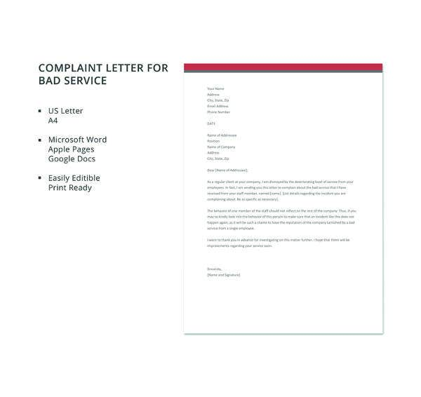complaint letter for bad service template