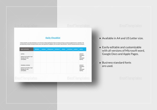 daily-checklist-template