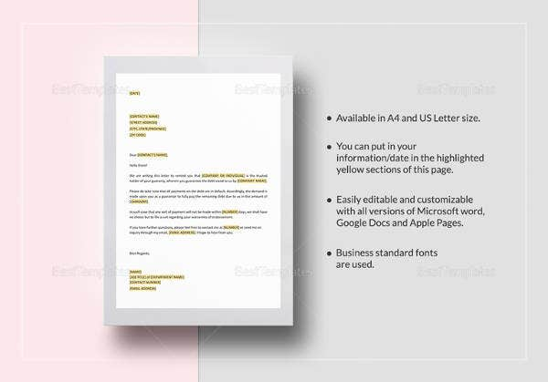 demand-on-guarantor-template