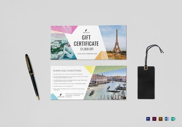 editable travel gift certificate template