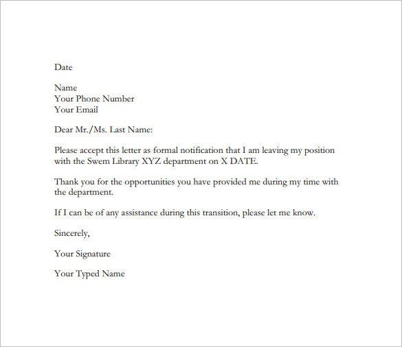 Email Resignation Letter To HR Free PDF Sample Download